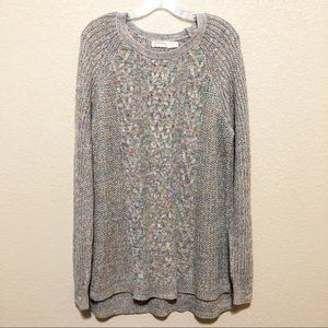 Rainbow Gray Cable Knit Crew Neck Sweater